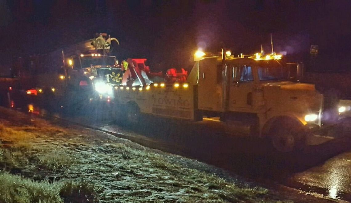 Nighttime Utility Truck Recovery