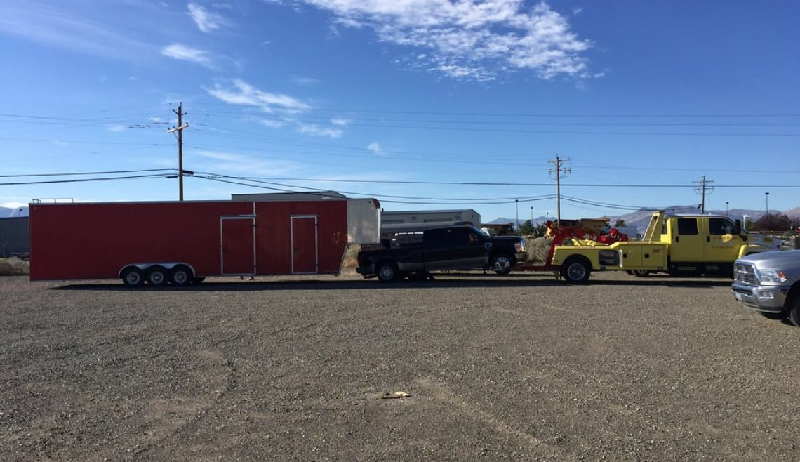 Pickup with Massive Car Hauler Recovery