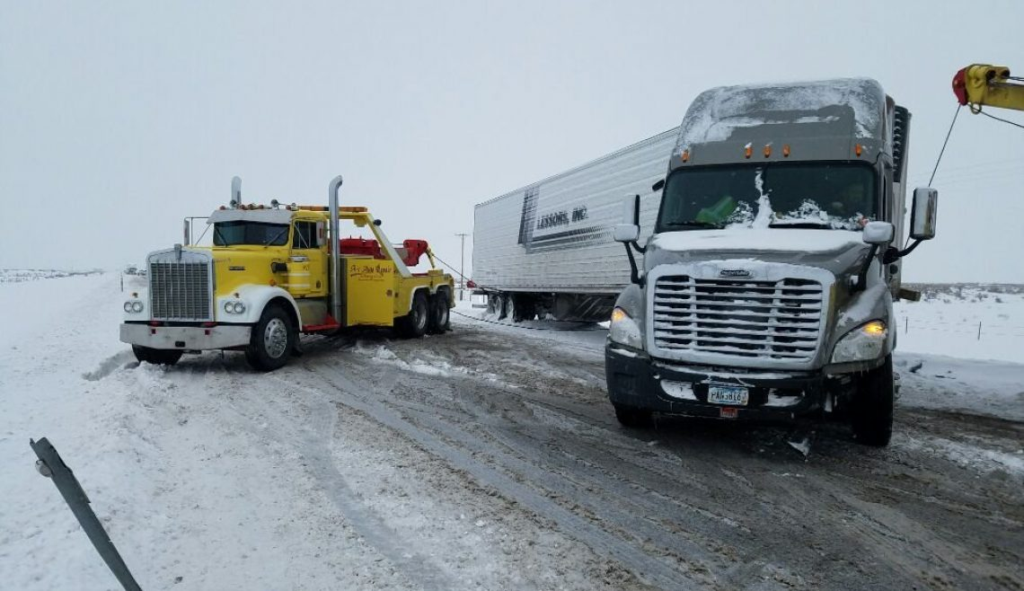 Snowing Semi Trailer Recovery