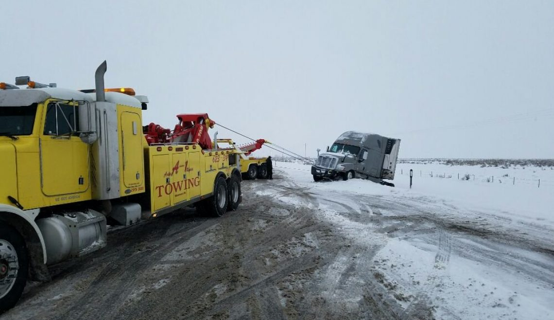 Snowy Semi Trailer Truck Recovery