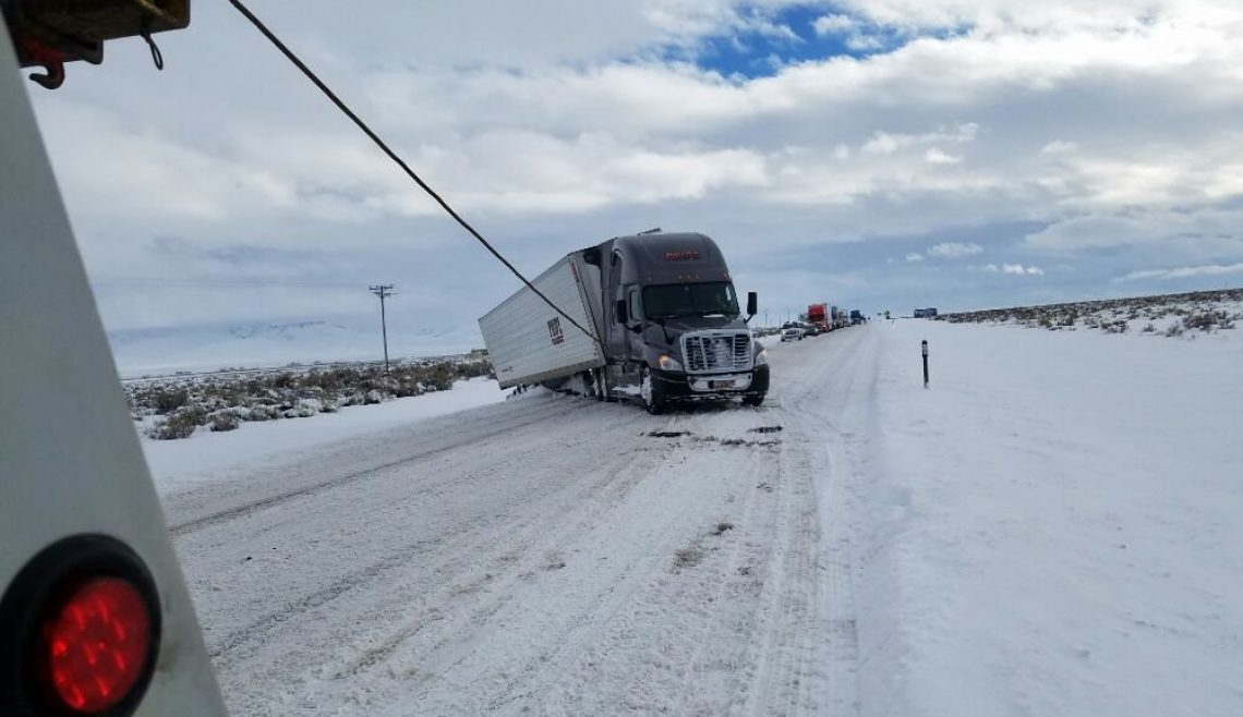 Snowy Truck Shoulder Recovery